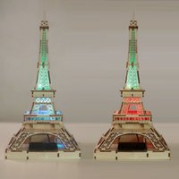 Wholesale Solar Powered Wooden Kits - Wholesale-Freeshipping Children DIY 3D LED Light Solar Power DIY Wooden Eiffel Tower Toys Kits Assemble Toys For Gifts