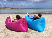Wholesale DHL Fast Inflatable Sofa Sleeping Bag Hangout Lounger outdoor Camping Sofa Portable Beach Nylon Fabric Sleep Bed with Pocket and Anchor