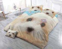 ingrosso disegni di cani-Disegni personalizzati possono essere personalizzati Set di copripiumini in 4 pezzi per cani e gatti in cotone satinato 3D