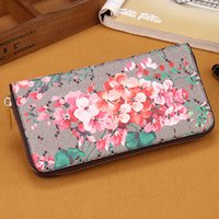 Wholesale Red Flower Purse - women long wallet flower print women wallets and purses pu leather handbags card and phone holder clutch wallets famous brand wallet