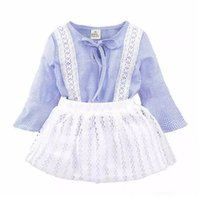 Ins Princess Baby Girls Clothing Наборы летних рукавов без рукавов и туту Seqiun Lace Mini Skirt 2Pcs Party Girls Outfits 2-7Y B11
