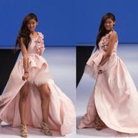 junior hi low pink dress venda por atacado-Princesa Alta Low Puffy Meninas Pageant Vestido Flor Meninas Vestido para Adolescentes Flor Rosa vestido de Baile Vestido de Festa Júnior Crianças Prom Vestido de Noite