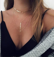 Wholesale Womens Black Necklaces - Gorgeous Multi-Layer Chokers Necklaces Silver  Gold Tone Circle Sequins Necklaces Womens Fashion Chokers Necklaces