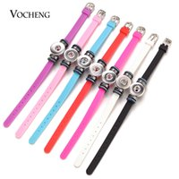 Wholesale Bracelets Mix Adjustable - VOCHENG NOOSA Ginger Snap Charms Bracelet Mix Colors Adjustable Colorful Silicone for 18mm Button Jewelry NN-599