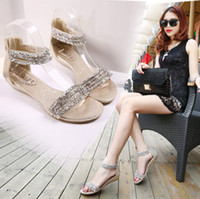 Wholesale Low Heel Gold Dress Sandals - New Roman sandals summer beaded rhinestone low heel shoes small wedge non-slip shoes