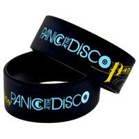 """Wholesale Jelly Bands Wholesale - Wholesale 50PCS Lot Panic at The Disco Silicon Wristband 1"""" Wide Band, Great To Used In Any Benefits Gift For Music Fans"""