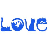 Wholesale Cat Laptop Decal - Wholesale 10pcs lot Various Cute Poses A Variety of Shapes Cats Spell Love Car Sticker for Bumper SUV Laptop Kayak Car Styling Vinyl Decal