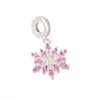 Wholesale Heart Shaped Snowflakes - Fine Silver Jewelry Pendant Charm Brass Micro Pave CZ snowflake Shape Diamond Pendant for Jewelry Making , ICPS003, 30*17mm