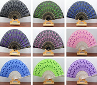 Wholesale Wedding Box Peacock - Free shipping Plastic embroidery sequins peacock tail feather shape fan ZS003 mix order as your needs