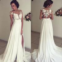 Wholesale Informal Beach Bridal Gowns - Sexy Split Chiffon Wedding Dresses Ivory Beach Bridal Gown Promotion Hot Sale Destination Informal Wedding Dress