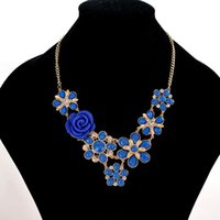 Wholesale Gemstone Flower Pendant - New Design Spring Summer Women Charm Necklaces Resin Rose Flower Gemstone Pendant Necklace Lady Rhinestone Alloy Necklaces