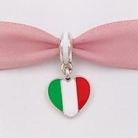 925 italien silberne halskette großhandel-925 Silber Perlen Italien Herz Flagge Anhänger Charme für europäische Pandora Style Schmuck Armbänder Halskette für Schmuckherstellung 791547ENMX