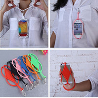Wholesale Silicone Strap For Iphone - Lanyard cell phone Cases For iphone 6 7 samsung s8 NEW Silicone Sling Necklace Wrist Strap cover holder