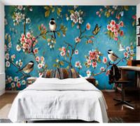 ingrosso carte da parati per uccelli per soggiorno-Foto Wallpaper 3D Stereo Fiori cinesi Uccelli Murale Camera da letto Soggiorno Nuovo design Texture Wallpaper Papel De Parede Floral 3D