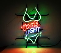 Wholesale Coors Light Signs New - New Tat tire Neon Beer Sign Bar Sign Real Glass Neon Light Beer Sign ME 007 coors light green 17x14 001
