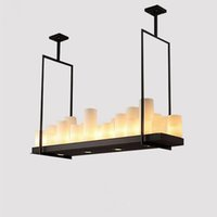 Wholesale Kevin Reilly Light - Modern Kevin Reilly Altar Pendant Lamp Chandelier Candle Light Fixture Suspension Lamp Rectangular Wrought Iron Pendant Light with Remote