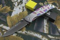 Wholesale Buck Da34 - BUCK -DA34 all steel folding knife 440C 58HRC outdoor survival camping hunting knife xmas gift 1pcs free shipping