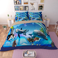 Wholesale tiger animal comforters - 3D Bedding Set Submarine World & Fire Tiger Twin Queen King Size Muilt-Color Duvet Cover 4pcs Polyester