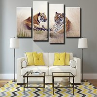 Wholesale Ground Pictures - 4pcs set Unframed Two Tigers Lie on the Ground Animal Oil Painting On Canvas Giclee Wall Art Painting Art Picture For Home Decor