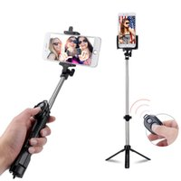 Wholesale Remote Control Stick - Selfie Stick Foldable portable Handheld Tripod wireless Universal Selfie Monopod Bluetooth remote control With Button For mobile phone