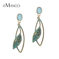 EManco Populaire Now Ethnique Vintage Leaf Drop Dangle Boucles d'oreilles pour Femmes Light Blue Crystal Opal Antique Bronze Bijoux plaqués