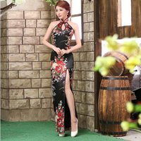 Wholesale Chinese Sexy Traditional Dress - Traditional Chinese Dresses Sale Backless Cheongsam Dress Black Modern Long Qipao Vestidos Chinos Oriental Evening Dress Robe QL