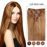 70g Clip In Remy Extensions de cheveux humains 7pcs / 16clips Soie Straight Full Head 16inch-26inch # 12 Golden Brown