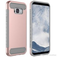 Wholesale Dual Pro Iphone - For ZTE Zmax Pro Samsung Galaxy S8 Plus Carbon Fiber Hybrid Case Dual Layer Slim Shockproof Cover For Iphone 8 LG G6 Opp Bag