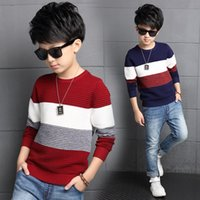 Wholesale Teenage Boys Sweaters - Wholesale- Newborn child autumn clothes wide stripe sleeve knit sweater with top fashionable teenage boys sweater WER19