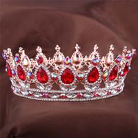 jóia de cabelo quinceanera venda por atacado-Projetos europeus Rei Real Rainha Da Rainha Da Coroa Rubi Teardrop Rhinestone Tiara Jóias cabelo Quinceanera coroa do Casamento da noiva Pageant Tiaras Cro