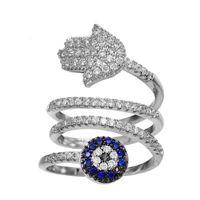 Wholesale Finger Eyes - KIVN Fashion jewelry Tiny Pave Spiritual Hamsa Evil eye CZ Cubic Zirconia Finger Rings for Women