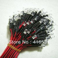 Wholesale 5mm Amber Led - Wholesale- 100pcs Superbright 5mm Amber  Yellow Prewired Led DC12V with 20cm Cable 20~25 Deg 5000 - 6000 MCD 460nM - 470nM