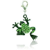 Wholesale Frog Rhinestone Silver Pendant - Fashion Charms 2 Color Rhinestone Frog Animals Pendants With Lobster Clasp Alloy Charms DIY Jewelry Making Accessories