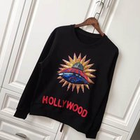 Wholesale Hoody Towel - Europe Autumn Fashion Sequins UFO Decoration Holly Wood Men Women Luxury Hoody Sweatshirts Towel Embroidery Flower lover Pullover Hoodie