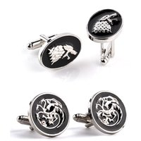 Wholesale Oval Cufflinks - Wholesale Lot 2 Pairs Mix Game of Thrones Men cufflinks Targaryen Dragon Stark Wolf Round Oval Men's Wedding cuff links SLXK18008
