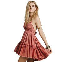 Wholesale Beach Casual Strapless Dress - New Women Summer Bohemian Dresses Backless Beach Sun Boho Strapless Strap Ball Gown Mini Party Dress Femme Vestdios