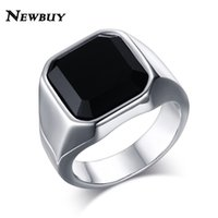 Al por mayor-NEWBUY Classic Design Big Black Stone Ring para hombre de acero inoxidable del hombre de la moda Cool Punk Style Ring Male Jewelry Wholesale
