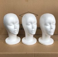 Wholesale Female Styrofoam Wig Head - 5Pcs Female Styrofoam Foam Mannequin Manikin Head Model Wig Glasses Hat Display Stand Creative Men Male Smooth Mannequin Head Model Wig Hat