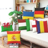 Wholesale Decorative Pillows England - High Quality Pillow Covers European Cup England Spain Italian Digital Print Pillow Cases Home Sofa Car Decor Decorative Pillow Shams