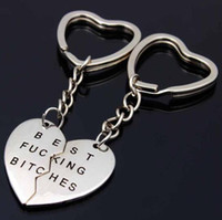 Wholesale heart charms best friend for sale - Group buy Best Bitches Keychain Letter Best Friends BFF Lovers Engraved Heart Key Chain Charms Key Rings Gadget Christmas Gift