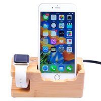 Wholesale Multi Dock Iphone - Quick Charger Docking Stand Cradle Charging Station Sync Dock Bamboo Wood Multi-Port USB Smartphones Apple Watch US EU UK Plug W-04-US