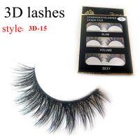 Wholesale Lashes Box - 3D-15 False Eyelashes 3D Cross Thick False Eye Lashes Extension 3 pairs box Eye Makeup 3D Natural Long Handmade Fake Eyelashes