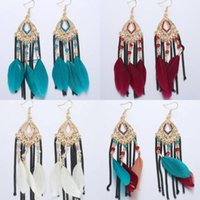 Wholesale Plume Earring - 5 Styles Exquisite Feather Dangle Earring Set Ethnic Bohemia Red Drop Earring Tribal Egyptian Black Brown Marine Blue Plume Jewelry B624S