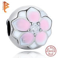 Wholesale Flower Positions - BELAWANG Wholesale Pink Enamel Flower With CZ 925 Sterling Silver Positioning Buckle Beads Fit Original Pandora Charms Bracelet DIY Jewelry