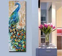 Wholesale Painting Home Images - 100% hand-painted canvas knife pop art animal oil painting Peacock pictures modern decor image home Colorful Large vertical