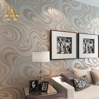 Wholesale paper flock - Wholesale-High quality 9.5m*0.53m 3D Embossed Flocking Striped Mural Wallpaper Roll Modern Living room Wall paper papel de parede W329