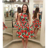 Wholesale Satin Taffeta Sweet 16 Dress - Floral Print Short Cutout Sexy Prom Homecoming Dress Mini 2017 A Line Pleated Satin Sweet 16 Cocktail Party Graduation Gown Lewande 50444