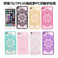 Wholesale Blue Henna - Datura Flower Henna Paisley Mandala Hard Plastic Case For Iphone 8 7 6 6S Plus SE 5 5S Galaxy S7 Edge S6 s6edge Fashion Clear PC Floral Skin