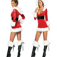 Wholesale Mrs Santa Fancy Dress - Ladies Sexy Miss Mrs Santa Christmas Party Costume Fancy Red Short Dress Deep V Neck Vestido