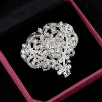 Wholesale Corsage Pins Wholesale - Love Heart Bridal Brooch Silver Clear Rhinestone Crystal Wedding Jewelry Big Hollow Heart Brooches Pins Flower Corsage Engagement Party Gift